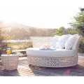 weather proof uv-resistant wicker round shape sun bed