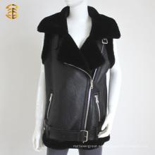 Estilo caliente negro oveja real piel chaleco chaleco chaleco de cuero para las mujeres o los hombres