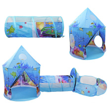 3 in 1 underwater sea Castle Play Tent, Kids Foldable Pop Up fish Play Tent/House Toy for Indoor and outdoor, Conveniently Folds