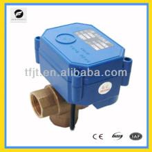 "CWX-60P three way T Flow Brass DC24V 3/4"" electric motor operated valve"