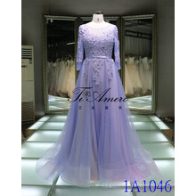 2017 Boat Neck Long Sleeves Lace Beading Evening Dress 3D Flowers Party Gown Tiamero 1A1046