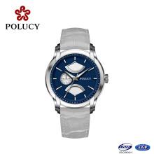 En gros de haute qualité en alliage de zinc hommes en cuir véritable montre à quartz