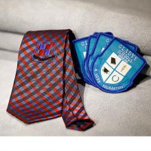 custom school logo uniform woven badge school logo tie school logo sock