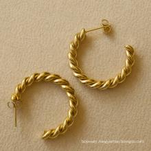 Custom Fahion Cheap Gold Plated  Earrings Stainless Steel Jewelry Gold Twist Hoop Earrings For Women