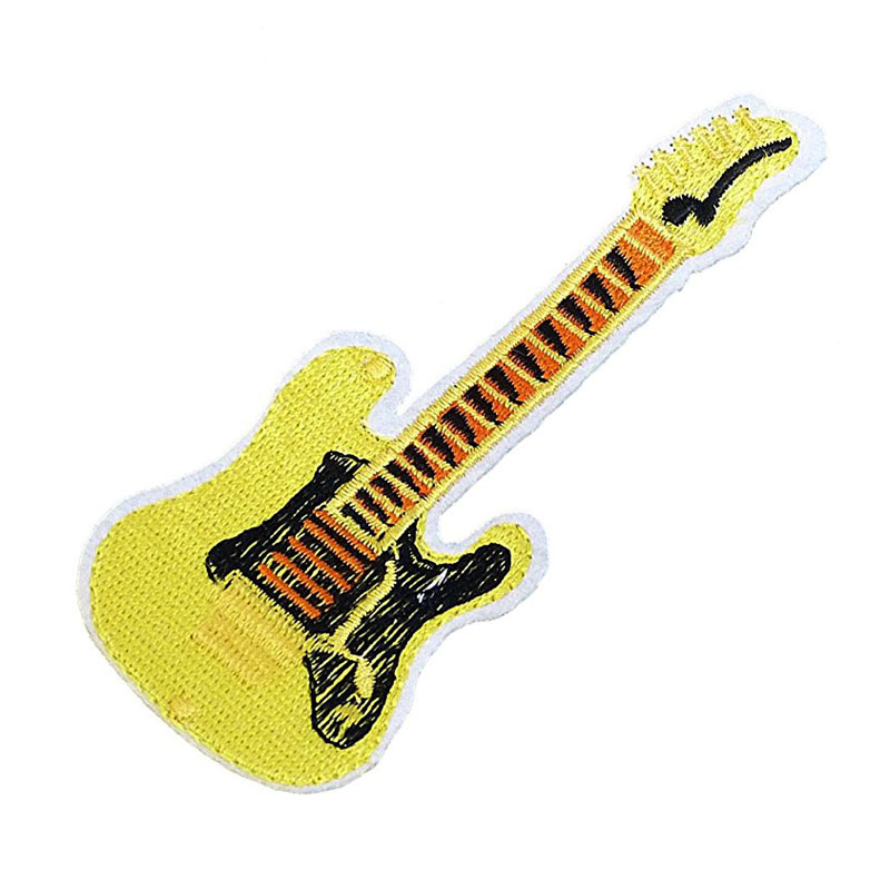 Yellow Guitar Iron On Patches