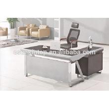 Secretária de vidro preto, mesa de móveis de vidro para uso de escritório, móveis de escritório de alta qualidade