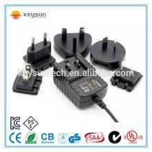 Adaptador de cabeça intercambiável 24v 500ma plug dc fonte de alimentação