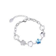 New Design Fashion Fresh Bracelet Blue Flower Women Bracelet Alloy Women Jewelry