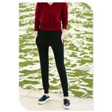 Pure Cashmere tricô Casual Calças com bolsos e elástico na cintura para senhoras