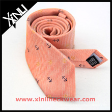 Mens Stylish Tie with Anchor and Wheel Striped Silk Wool Necktie