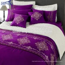 Alibaba China proveedores 300TC algodón púrpura bordado juego de cama