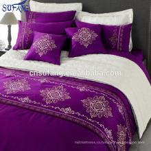 Alibaba Китай поставщики 300TC хлопок фиолетовый постельных принадлежностей вышивки, комплект