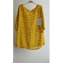 Ladies cuello redondo de manga corta suéter de punto