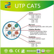 Cabo da rede da fábrica Cat5e do cabo de UTP do friso com ETL / RoHS