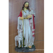 Wholesale Popular Holding The Cross Jesus Resin Sculpture for Religious Decoration