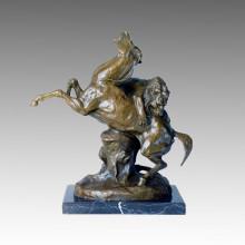 Tier Statue Löwe & Pferd Krieg Bronze Sculpure Tpal-139