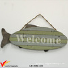 """Fish """"Welcome"""" Vintage Hanging Antique Painted Wood Sign"""