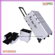 Belleza de plata de diamante ABS Professional Cosmetic Trolley Cases (SATCMC010)