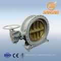 water gas steam triple eccentric metal hard seal butterfly valve gearbox worm gear drive butterfly valve