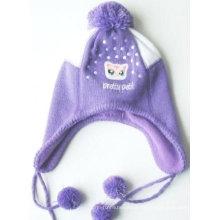 Chapeau d'hiver en molleton polaire pour enfants avec des oreillettes