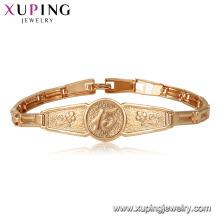 75402 Xuping al por mayor Materiales de cobre ambiental 18k pulsera de oro para unisex