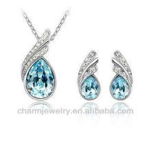 Pequeño Goby Azul Fashion Set Austria Cristal Teardrop Moda Pendientes Collar PS-002