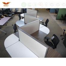 Unique Design S Shaped Wooden Small Office Partition Workstation (P02)