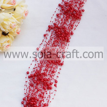 3+8MM Red Artificial Faux Pearl Beaded Chains For Decoration