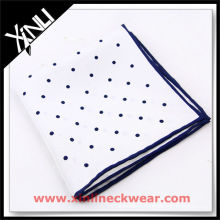 White with Colored Rolled Hem Linen Handkerchief