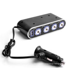 Portable 4-Way DC Car Cigarette Lighter Socket Splitter/Charger/Adapter with USB