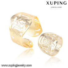 Moda elegante ouro 18k -Plated conjunto de jóias de imitação com pulseira e anel 63811