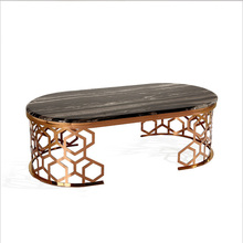 Luxury Stainless Steel Coffee Table With Marble Top