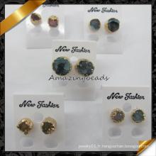 Boucles d'oreilles en perle à quartz à quartz