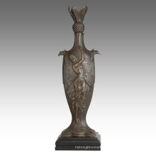 Vase Statue Female Birdscarving Decoration Bronze Sculpture TPE-670