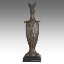 Vase Statue Female Birdscarving Decoration Bronze Sculpture TPE-670