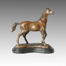 Animal Escultura de bronce Árabe Caballo Decoración Artesanía Latón Estatua Tpal-075