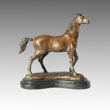 Animal Bronze Sculpture Arab Horse Decoration Craft Brass Statue Tpal-075