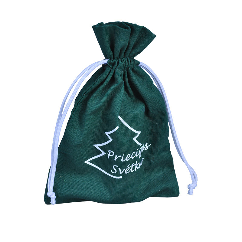 Green Cotton drawstring pouch
