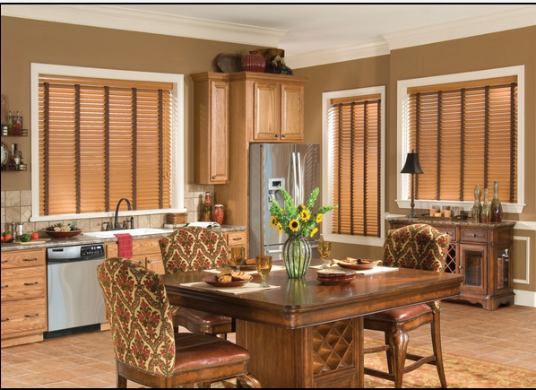 "2""Realistic Wood Grain Horizontal Venetian Blinds"