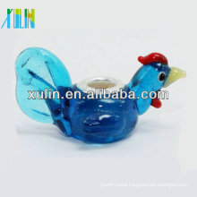 blue transparent cock silver plating core animal glass beads