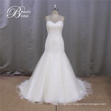 SL371 venda quente Strapless frisada sereia nupcial do vestido de noiva 2016