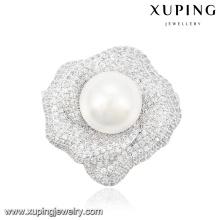 00036 moda elegante pérola jóias broche na cor do ródio