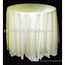 elegante Tischdecke, elfenbeinfarben, Organza-Overlay, Polyester-Tischdecke