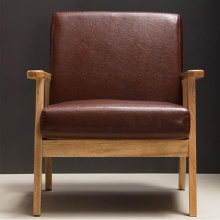Mid Century Retro Wood Frame Leather Lounge Armchair