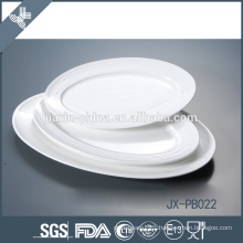 simple oval embossment dinner pate, pizza plate, porcelain plate