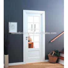 Blanco imprimado 10 Lite puertas interiores de vidrio de madera de estilo francés
