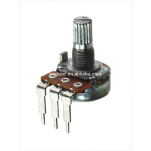 WH148-1A-4-18T metal shaft rotary audio potentiometer with 3 bent pins