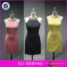 ED Bridal Real Sample Photo Robe en satin à la robe à courte robe
