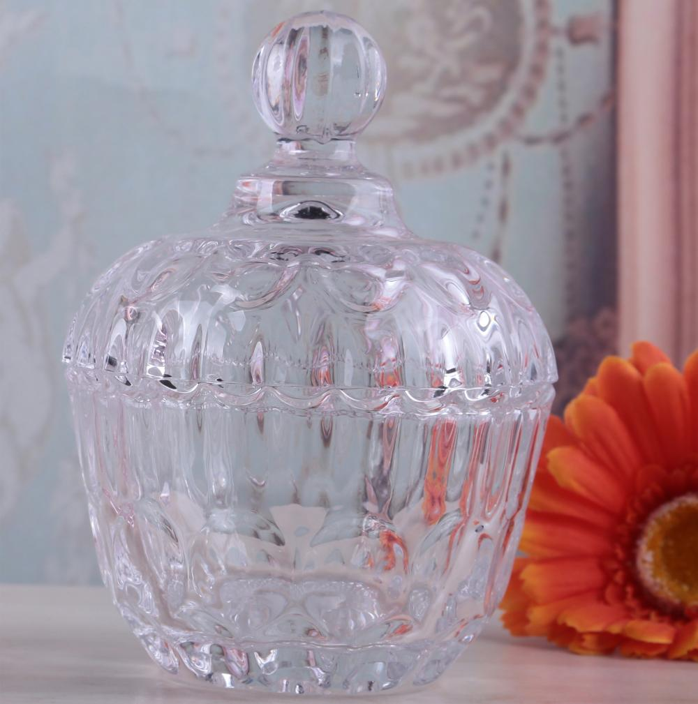 Br1201wholesale Round Color Glass Candy Jar With Glass Lid