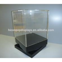 Einzelhandel Rotierende Display-Einheiten, Custom Countertop Holz Basis Hohe Vintage Acryl Rotierende Display-Gehäuse